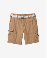 Express 9 1/2 inch belted flat front cargo shorts