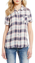 Miss Me Plaid Button Front Short Sleeve Top