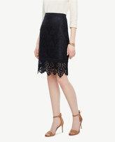 Ann Taylor Petite Botanical Lace Pencil Skirt