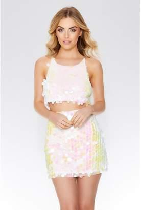 Quiz White Sequin Embellished Mini Skirt