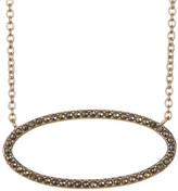 Judith Jack Gold-Tone Marcastie Detail Oval Pendant Necklace