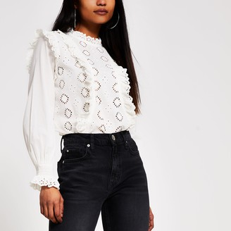 River Island Womens Petite White broderie frill blouse