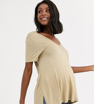 Asos DESIGN Maternity oversized v front and v back t-shirt in stone-Beige