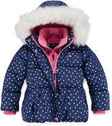Asstd National Brand Vertical 9 Heart-Print Polar-Fleece Vestee Puffer Coat - Preschool Girls 4-6x