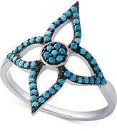 Macy's Manufactured Turquoise Flower Ring in Sterling Silver