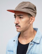 Asos Vintage Baseball Cap In Khaki With Orange Underpeak