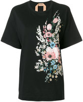 No.21 floral embroidered T-shirt