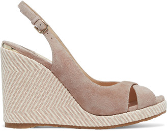 Jimmy Choo Amely 105 Suede Slingback Wedge Sandals