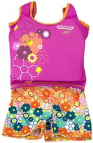 Aqua Leisure Girls 1 pc swim trainer, floral print shorts, printed top, with back zipper - S