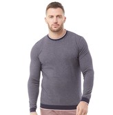 Ted Baker Mens Pershan Striped Ribstart Cotton Crew Neck Jumper Navy