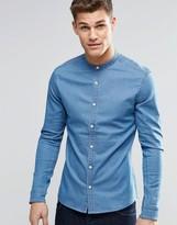 Asos Skinny Denim Shirt With Grandad Collar In Mid Wash