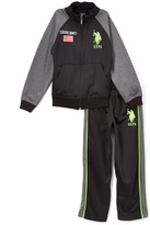 U.S. Polo Assn. Neon Green Tricot Zip-Up Jacket & Track Pants - Toddler & Boys