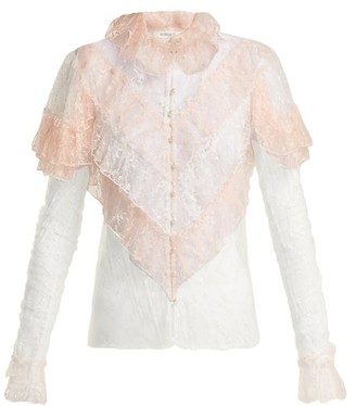 Rodarte Ruffled Lace Blouse - Pink Multi