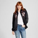 Xhilaration Women's Embroidered Bomber Jacket Black Juniors')