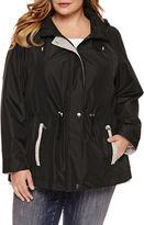 Details Drawstring Anorak Raincoat with Sweatshirt Detail -Plus