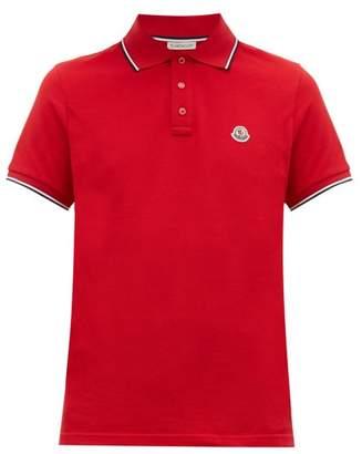 Moncler Embroidered Logo Cotton Pique Polo Shirt - Mens - Red
