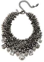 Badgley Mischka 6-8mm Grey Oval Pearl and Crystal Bib Necklace