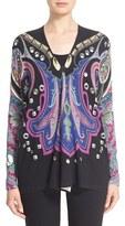Etro Women's Stud & Paisley Print Silk & Cashmere Cardigan