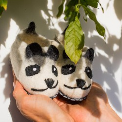 Muskhane - 24-25 Felt and Leather Panda Stone Slippers - small   felt   leather