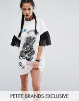 Jaded London Petite Oversized Rock T-Shirt Dress With Mesh Frilly Sleeve