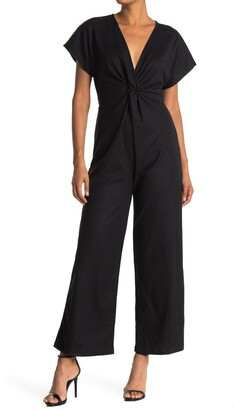 Angie Rib Knit Twist Front Jumpsuit