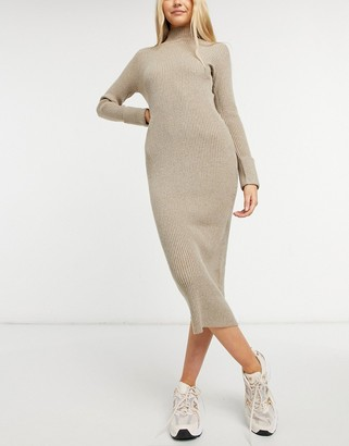 BB Dakota sweater of intent midi dress in taupe