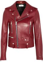 Saint Laurent Leather Biker Jacket - Claret