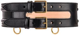 Alexander McQueen Wide Leather Belt in Black | FWRD