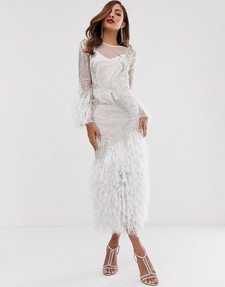 Asos Edition EDITION embellished showgirl midi dress with faux feathers-White