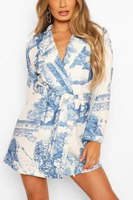 boohoo Landscape Print Belted Double Breasted Blazer Dress