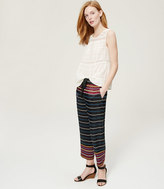 LOFT Cropped Striped Fluid Pull On Pants