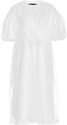 Simone Rocha Tulle-Overlay Cotton Puff-Sleeve Babydoll T-Shirt Dress