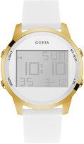 GUESS Women's Digital Chronograph White Silicone Strap Watch 46mm U0815L1
