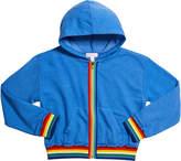 Design History Girls Girl's Rainbow Tape Zip-Front Hoodie, Size S-XL