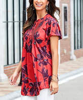 Reborn Collection Women's Tunics Red - Red Floral Short Sleeve Notch Neck Pin Tuck Tunic - Women & Plus