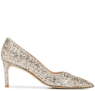 Stuart Weitzman Pointed Glitter-Detail Pumps