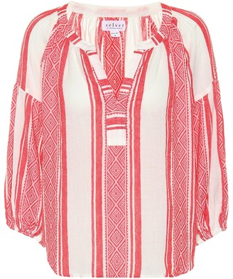 Velvet Britt striped cotton top
