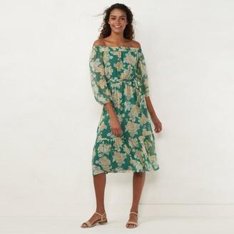 Lauren Conrad Women's Smocked Off Shoulder Maxi Dress