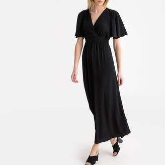 Naf Naf Laforte Ruffled Wrapover Maxi Dress with Tie-Waist