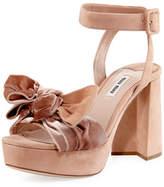Miu Miu Velvet-Bow Suede Platform Sandal