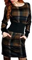 Qiyun Women Plaid Printed Long Sleeve Patchwork Fashion Girls Base Tunic Short Dress
