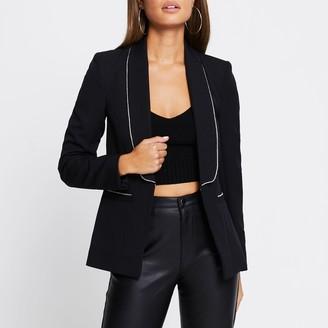 River Island Womens Black diamante trim long sleeve blazer