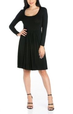 24seven Comfort Apparel Women's Casual Long Sleeve Pleated Dress