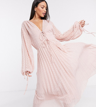 Asos Tall ASOS DESIGN Tall pleated midi dress with drawstring waist and balloon sleeves in chevron dobby in pink