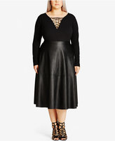 City Chic Trendy Plus Size Faux-Leather Midi Skirt