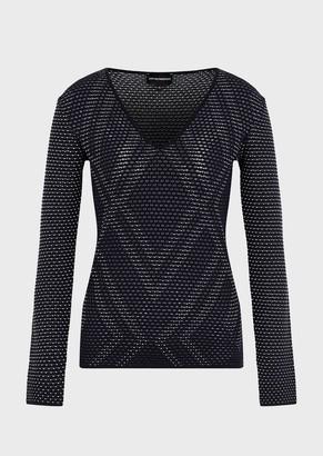 Emporio Armani Openwork Knit V Neck Sweater With Jacquard Motif