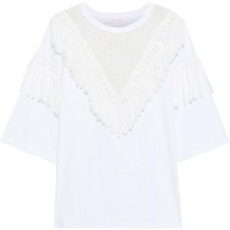 See by Chloe Oversized Tasseled Crochet-paneled Cotton-jersey T-shirt