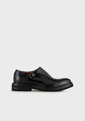 Emporio Armani Brushed Leather Monkstraps With Studs