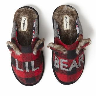 Dearfoams Women's Adult Lil Bear Buffalo Scuff Slipper