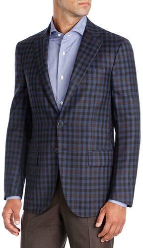 Isaia Check Super 140s Wool Two-Button Sport Coat